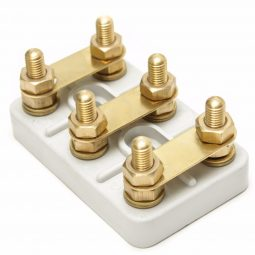 Terminal Blocks DIN 46 294 , serial K with 2 central, recessed mounting slots, 6-pole
